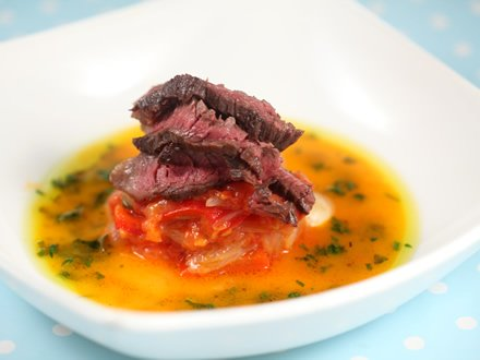 Steak onglet cu piperade